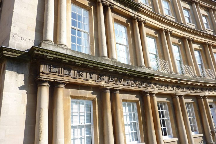 The Circus in Bath with restored sash windows
