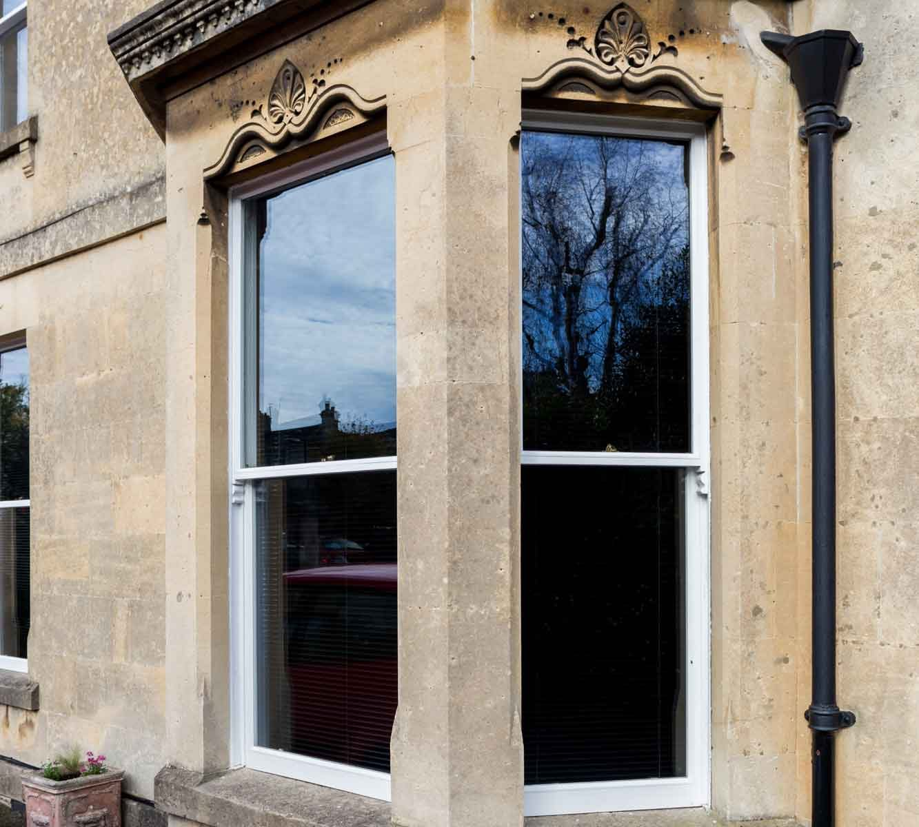 Victorian sash bay windows in Bath townhouse