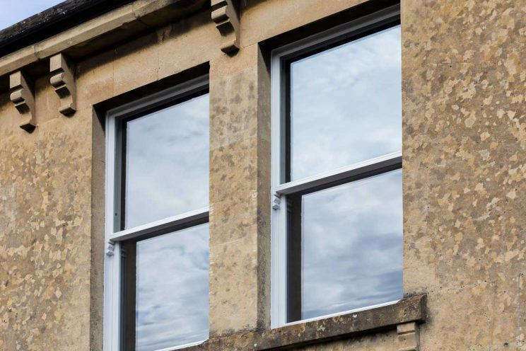 Restored Victorian sash windows in Bath property