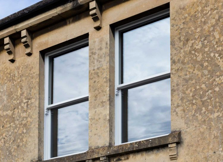 Restored one over one sash windows in Bath property