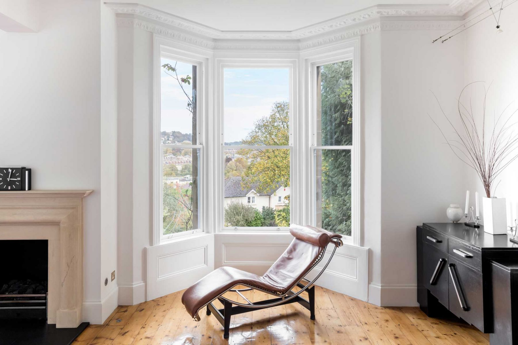 Sash bay windows in Bath townhouse