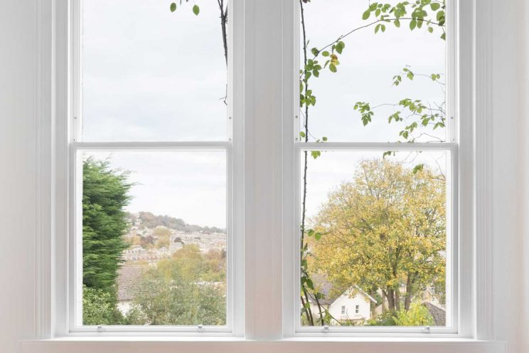 One over one sash window in Bath townhouse