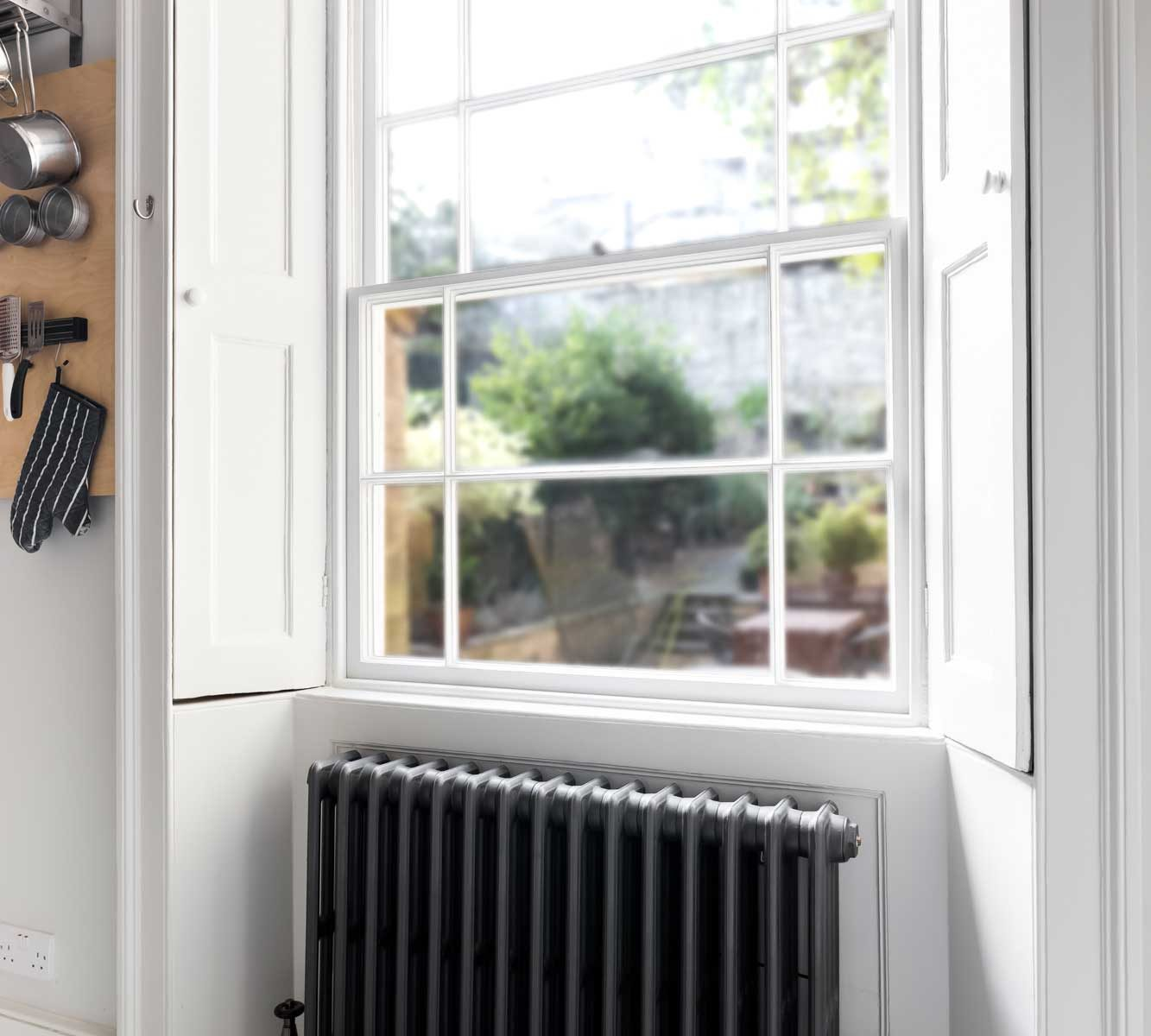Restored sash window in kitchen