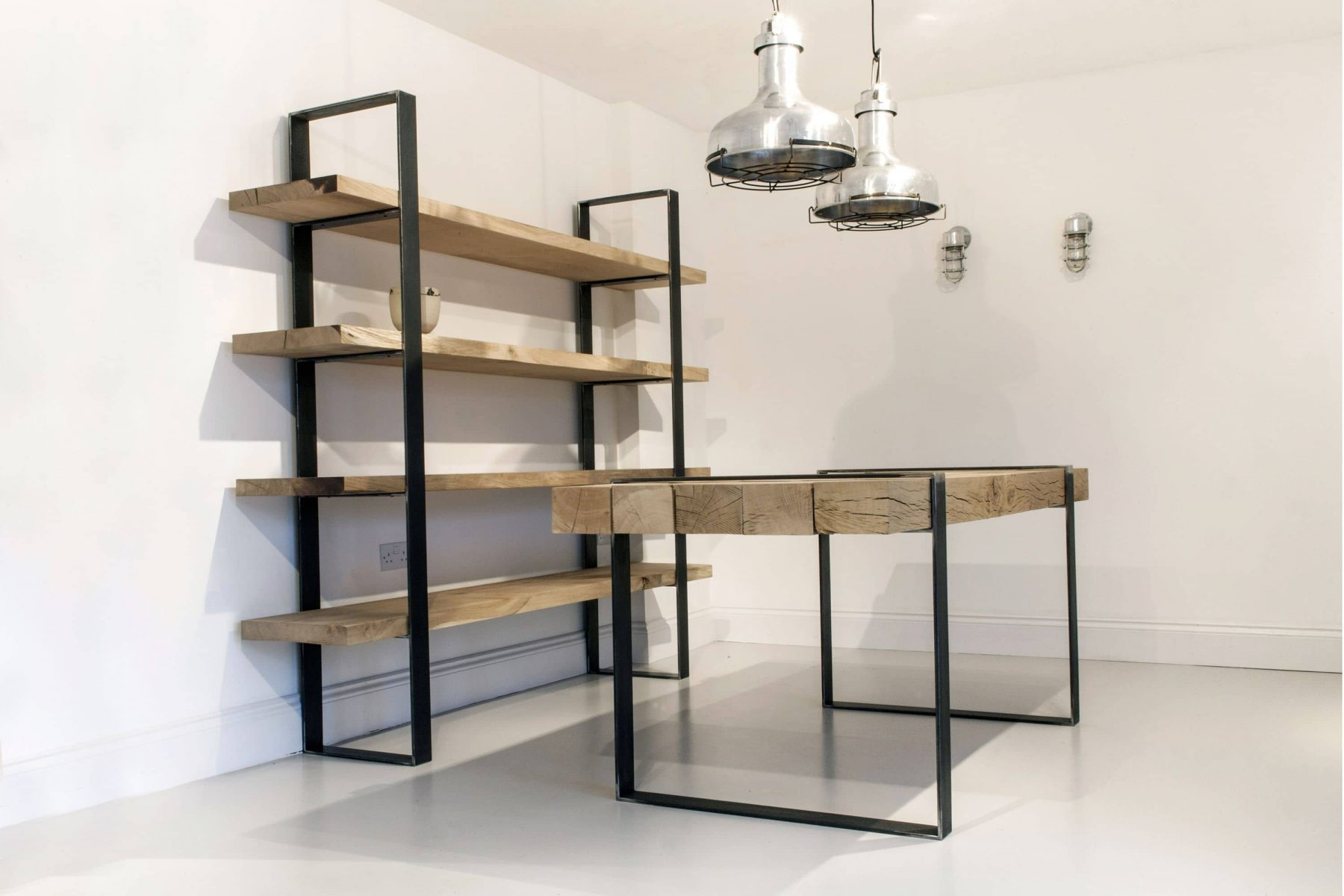 Industrial chic bookcase and table