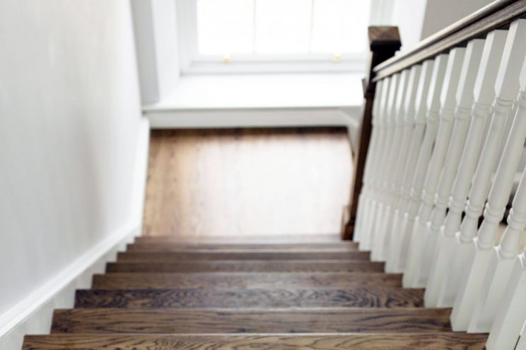 Oak stained staircase flooring in new build
