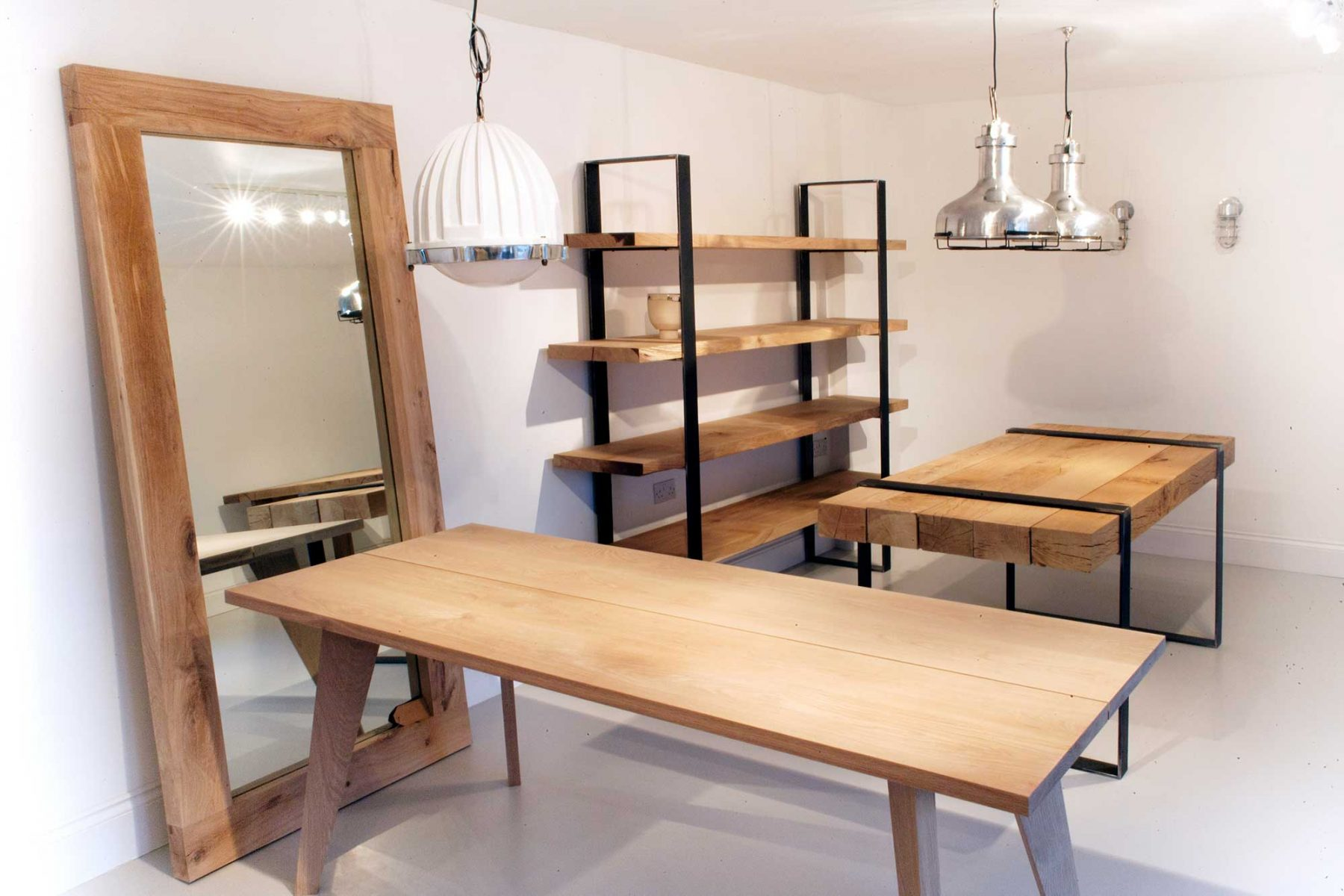 Modern and rustic tables and bookcase