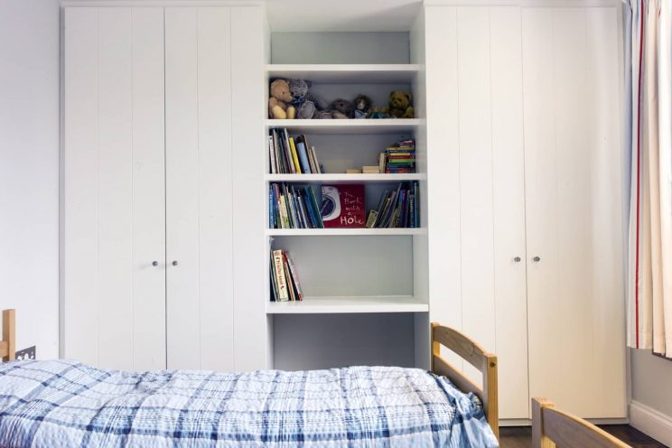 White wardrobes in child's bedroom