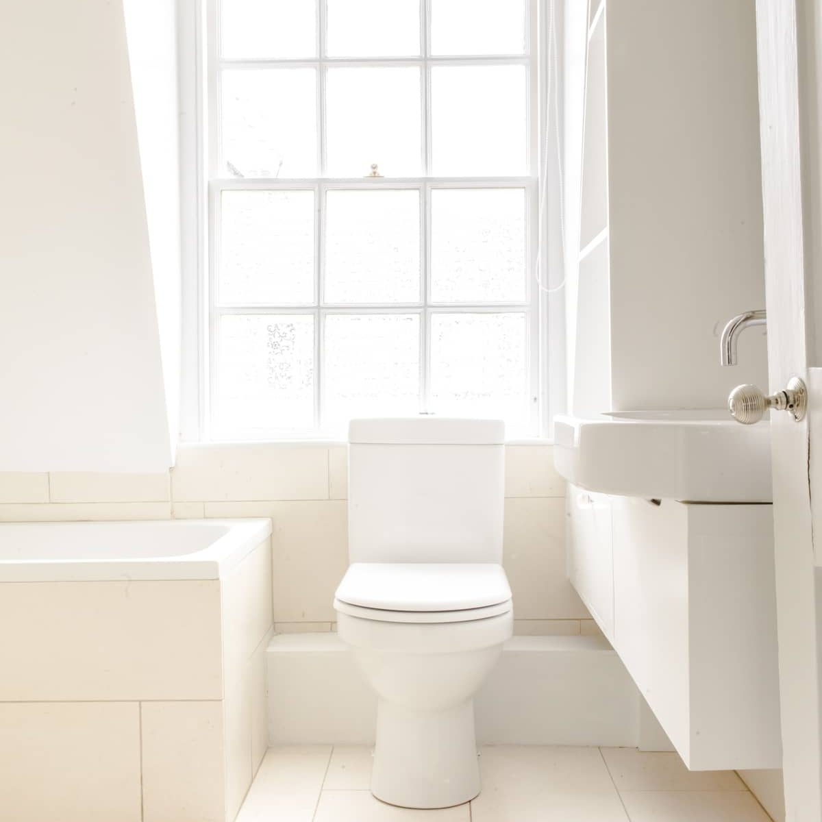 Classic bathroom with sash window in Bath