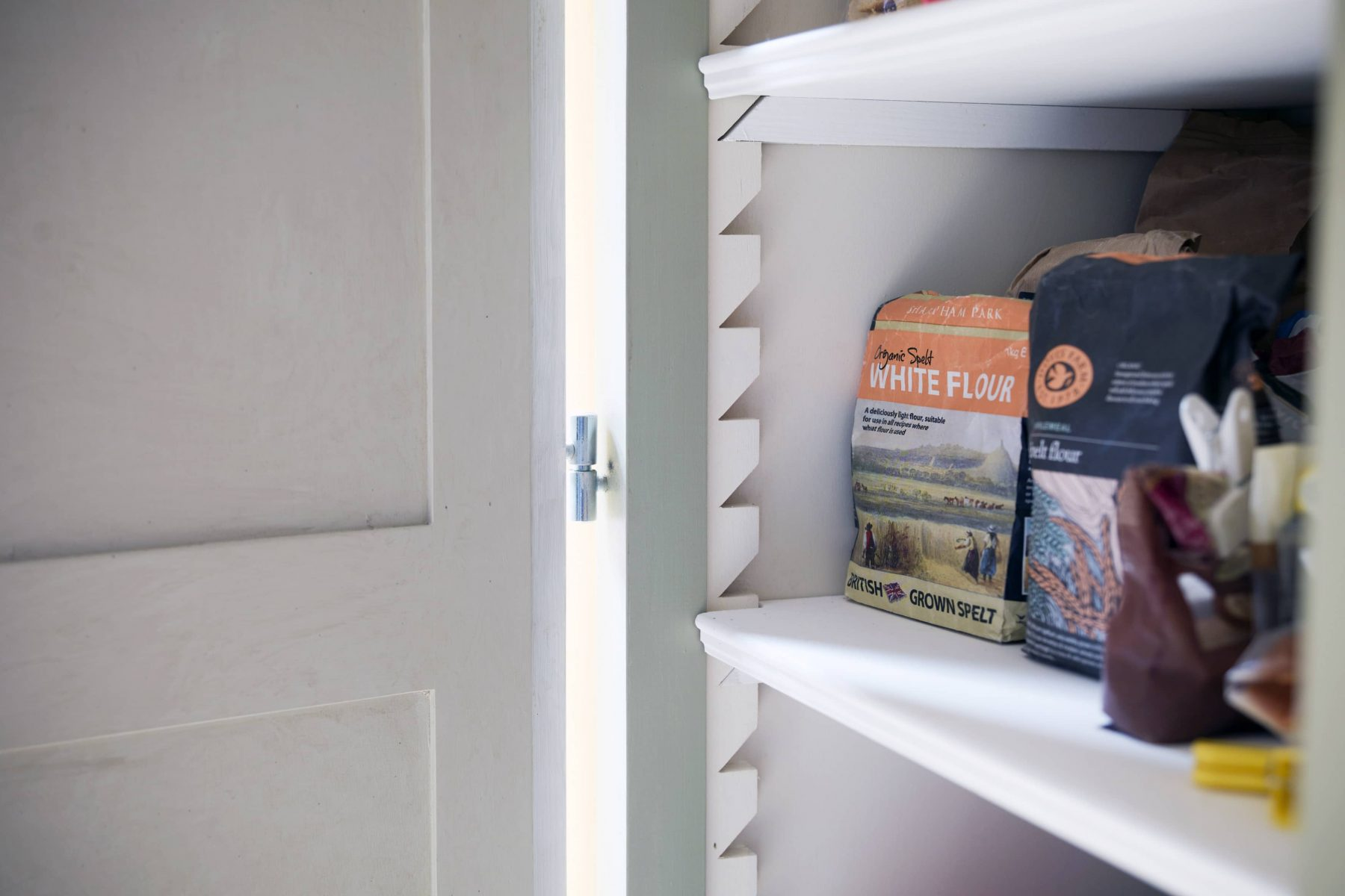Inside a shaker style kitchen cupboard