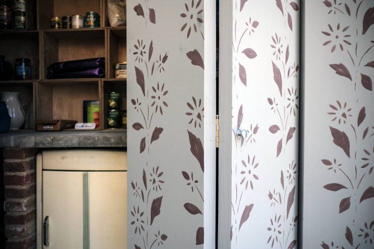 Floral detailing on the doors