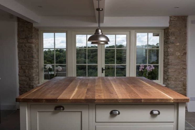 Cream kitchen with european oak worktop