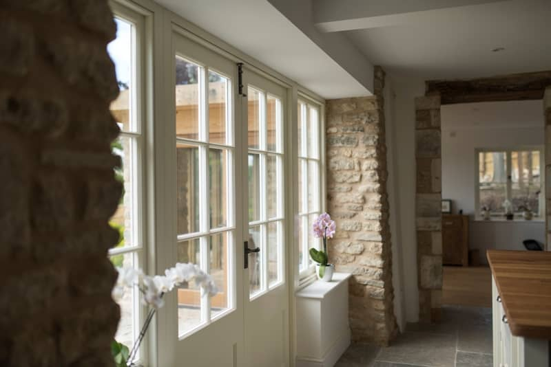 Painted hardwood timber French windows and doors by Bath Bespoke