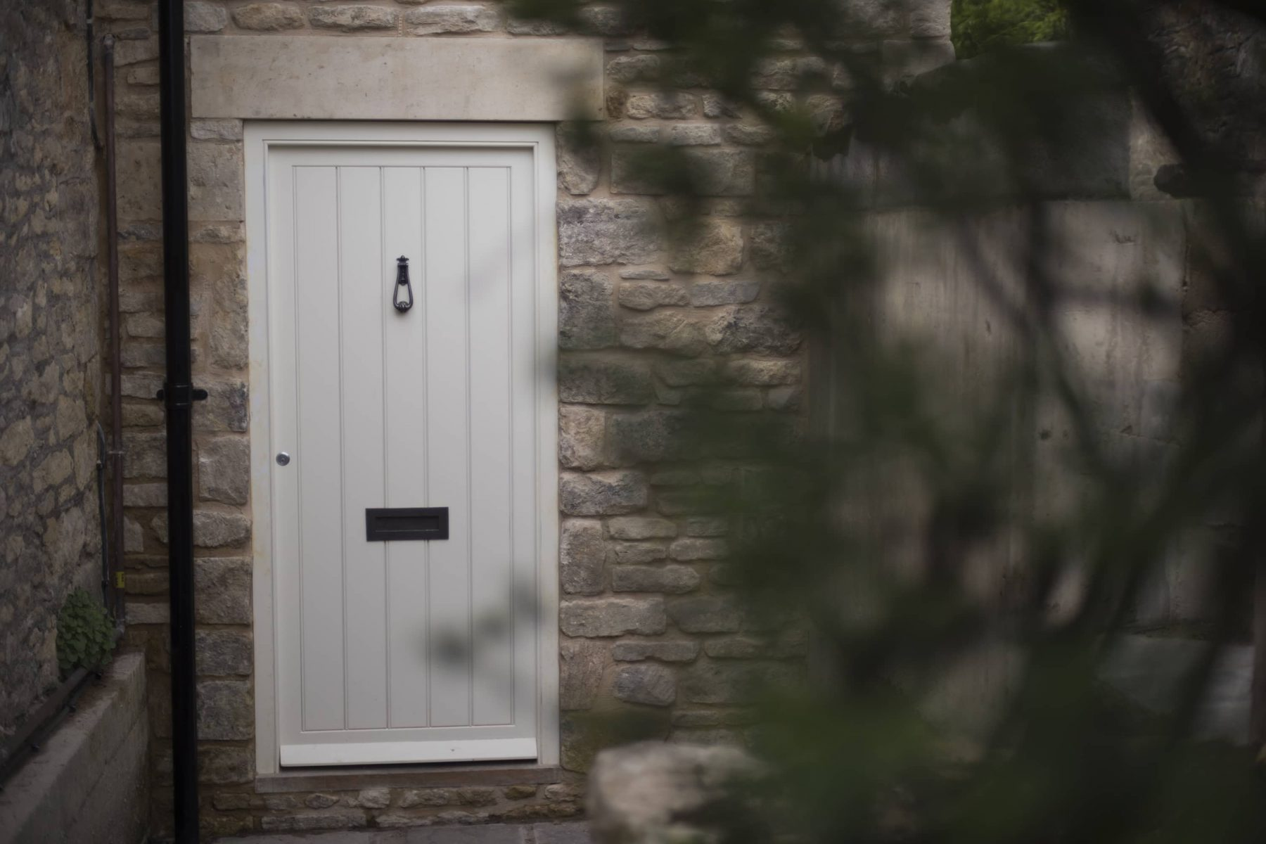 Hardwood white exterior door