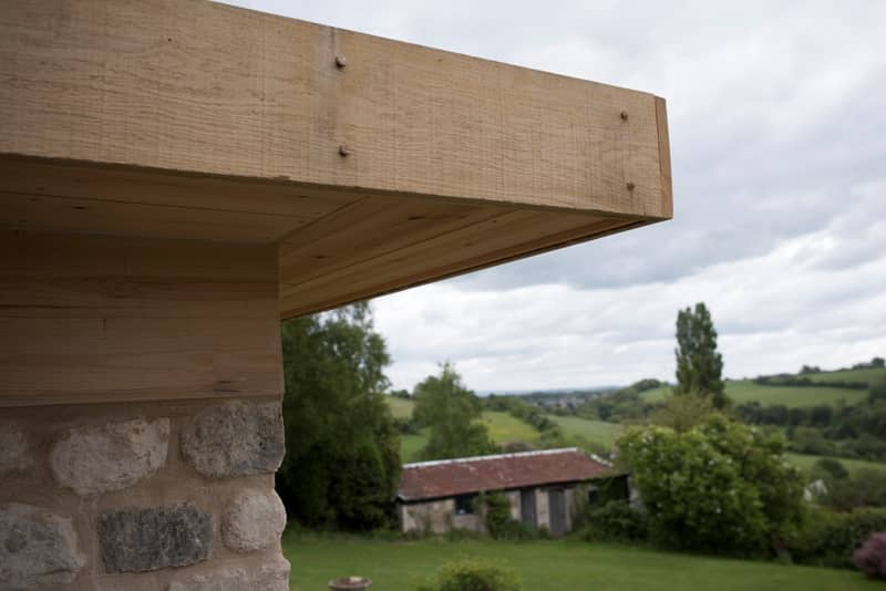 Detail of a green oak timber structure by Bath Bespoke