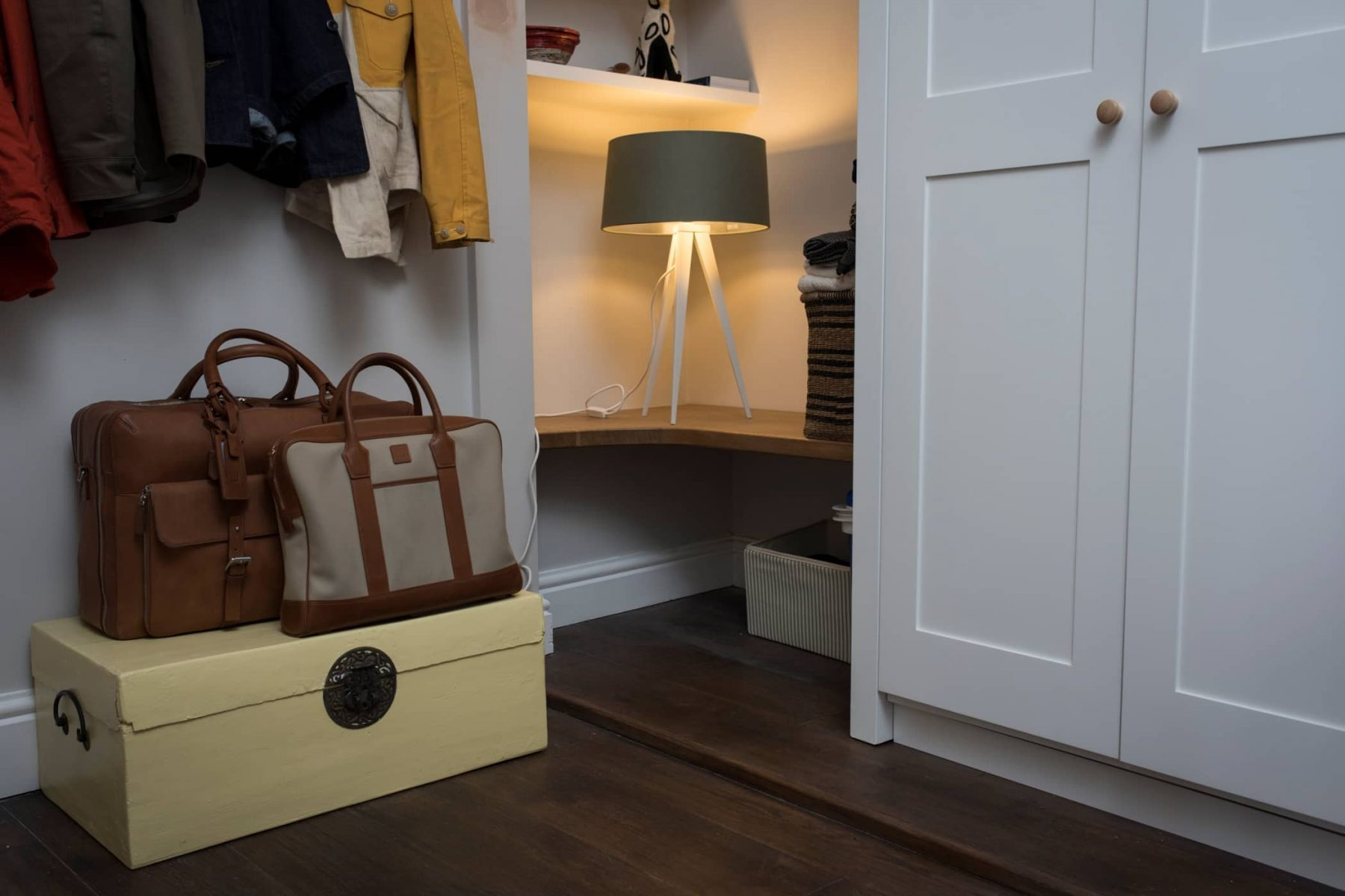 Country home hallway and coat hooks