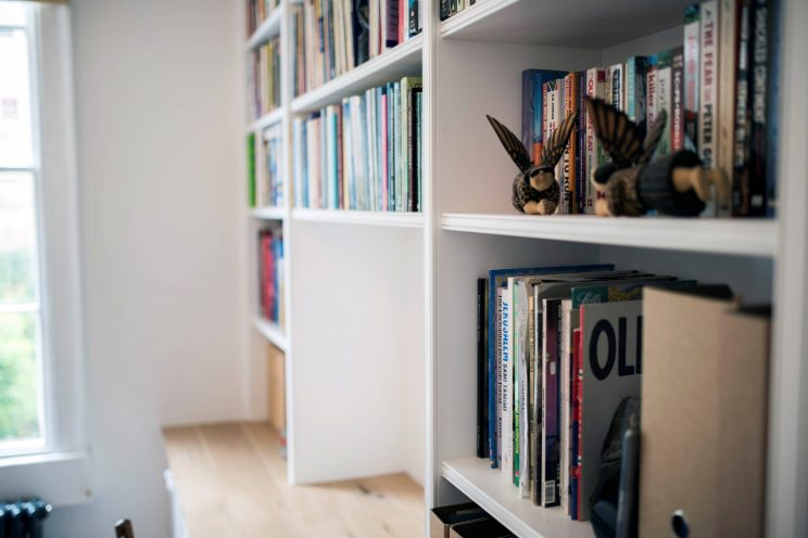 Painted study room with fitted bookcases