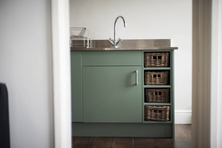 Storage detail from a bespoke contemporary kitchen by Bath Bespoke