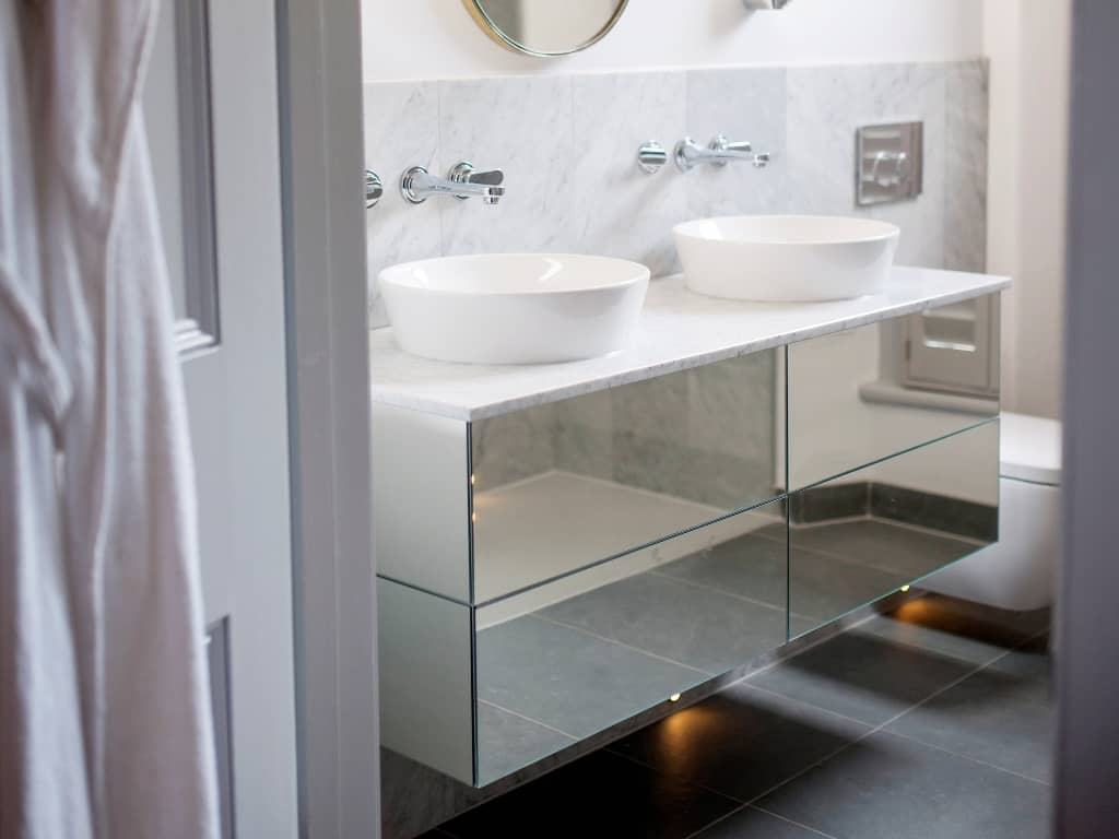 A Floating Mirrored Sink Unit Bath Bespoke