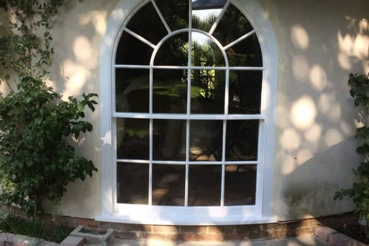 Large curved sash window in Bristol