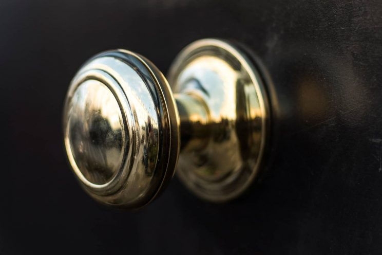 Brass door knob on exterior door