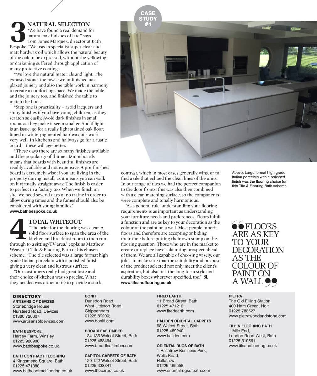 Wooden flooring feature in Bath Life Magazine