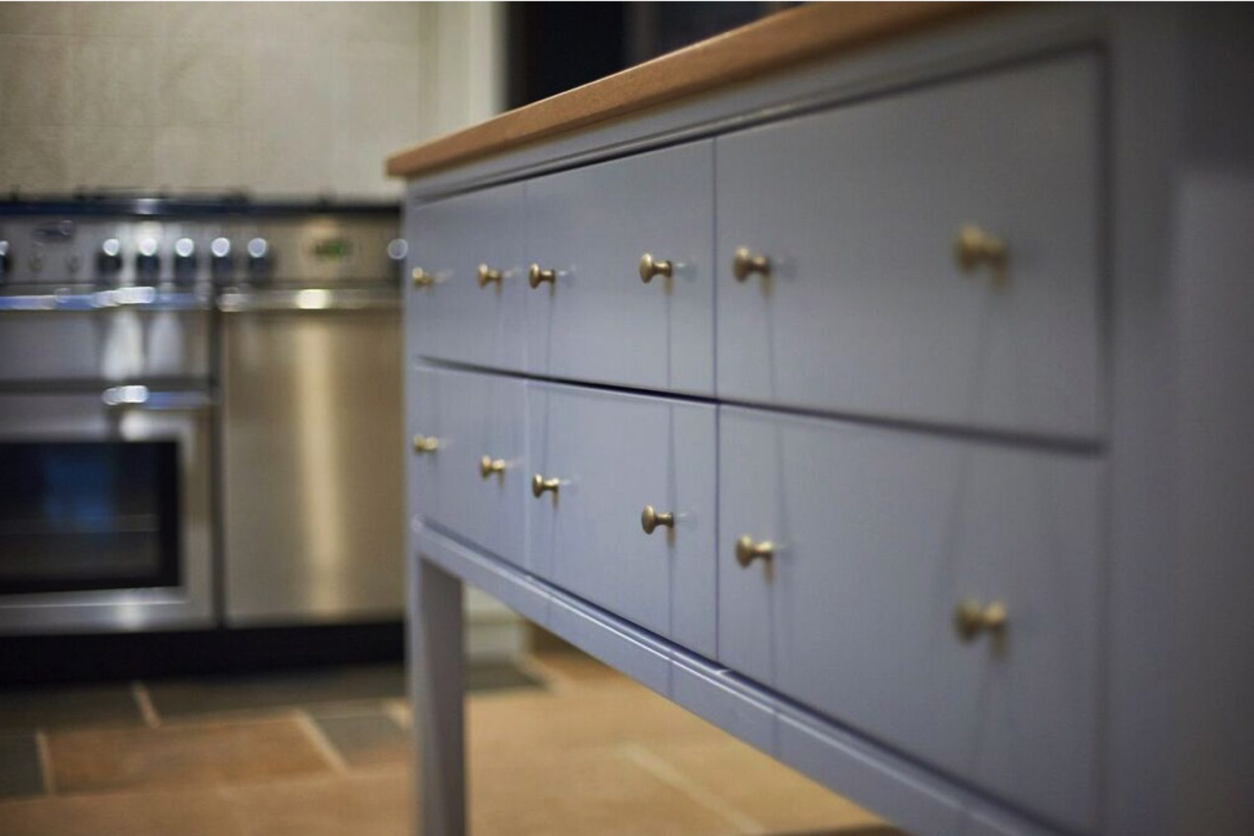 Lilac blue classic kitchen cabinet