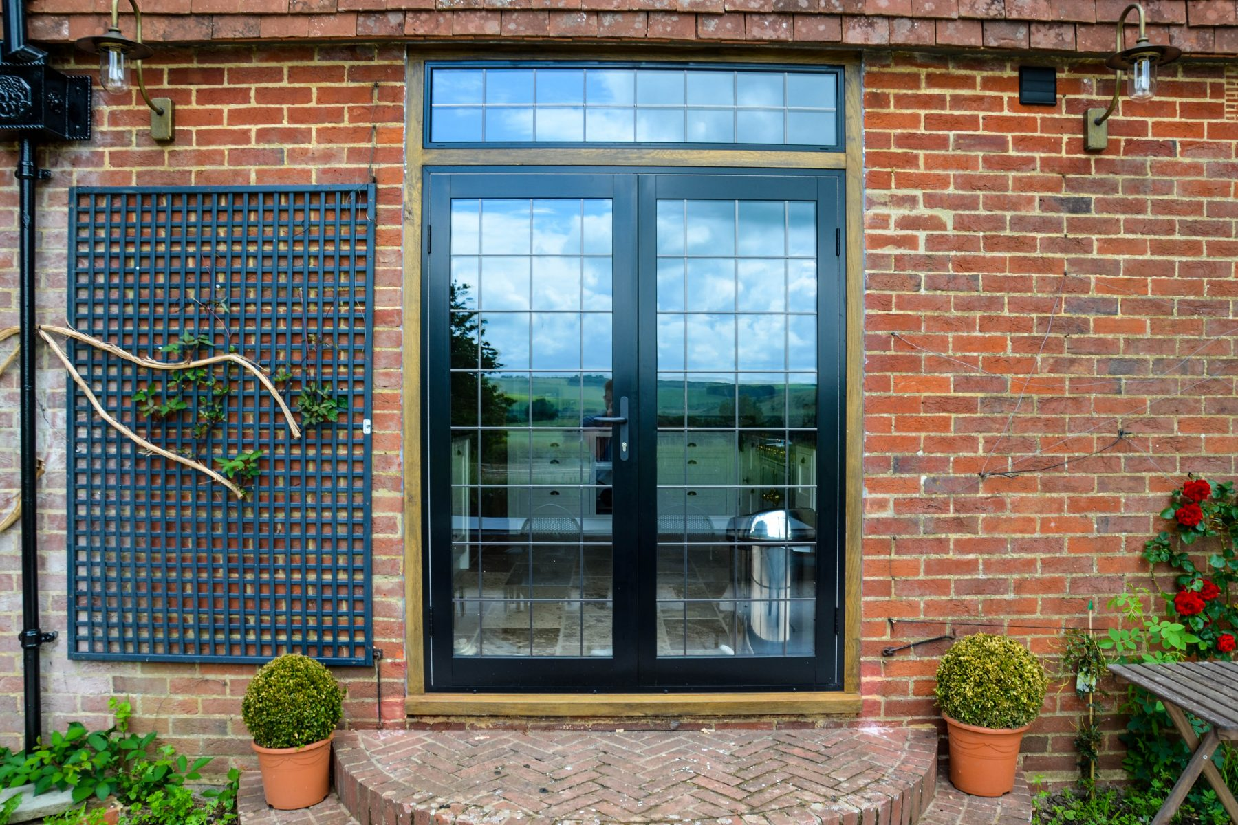 Black french door with leaded glass