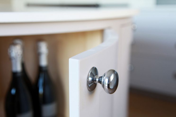 White kitchen door with silver knob