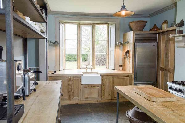 French chic kitchen with reclaimed oak cabinets