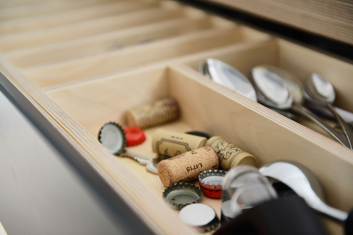Wine corks in kitchen drawer
