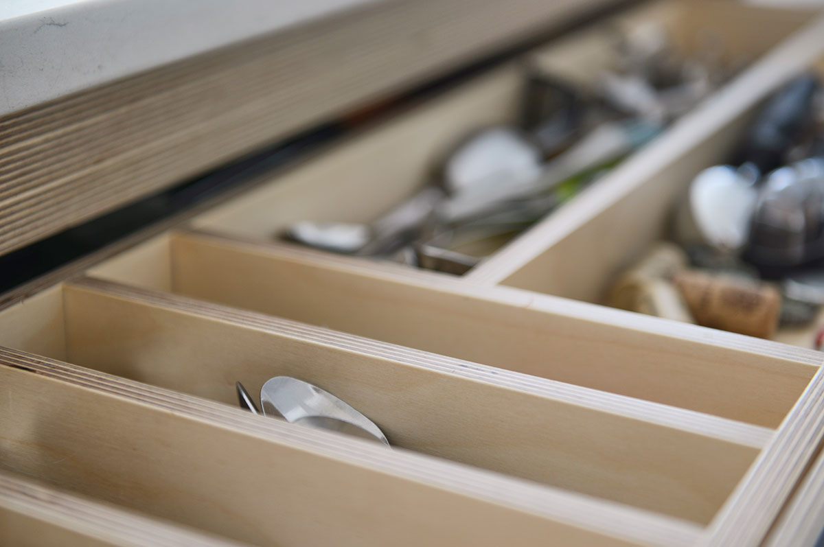 Wooden drawer for cutlery storage