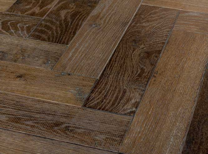 Oak parquet flooring in Tannery Brown