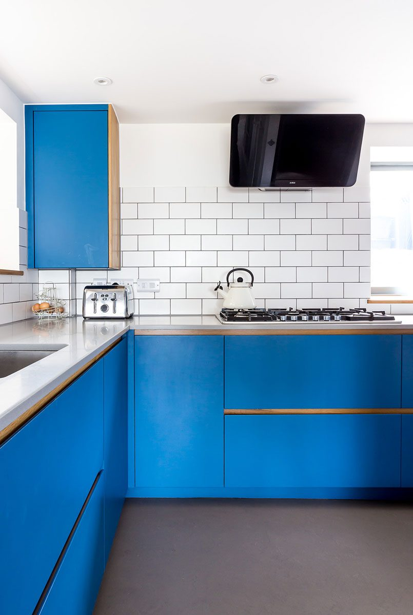 Bright blue modern corner kitchen