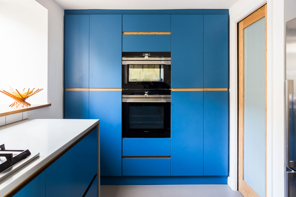Electric blue large larder with double tier cooker