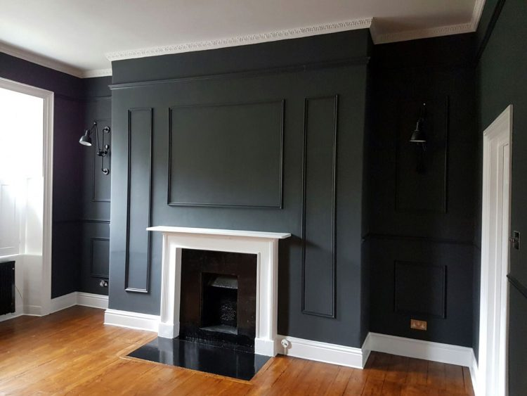 Grey living room with period feature fireplace