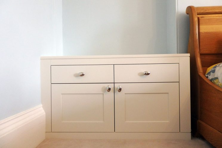 White bedside drawer