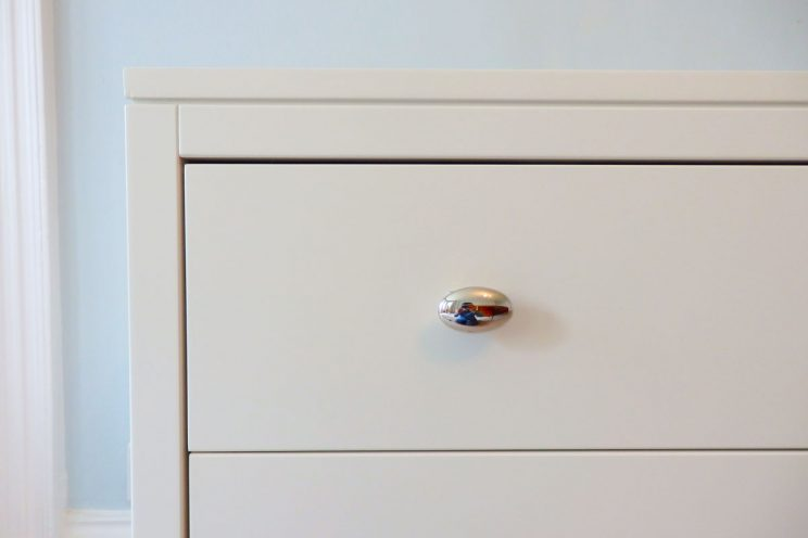 White bedroom drawers close up