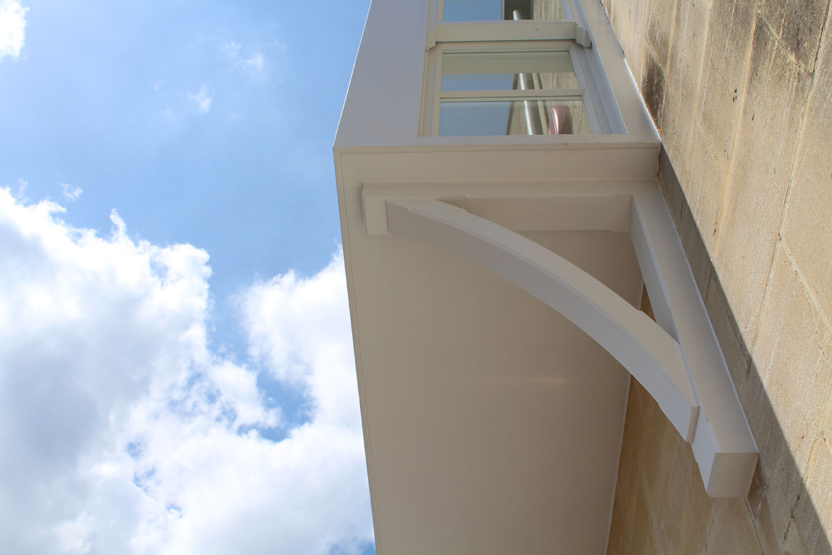Close up of the bay window