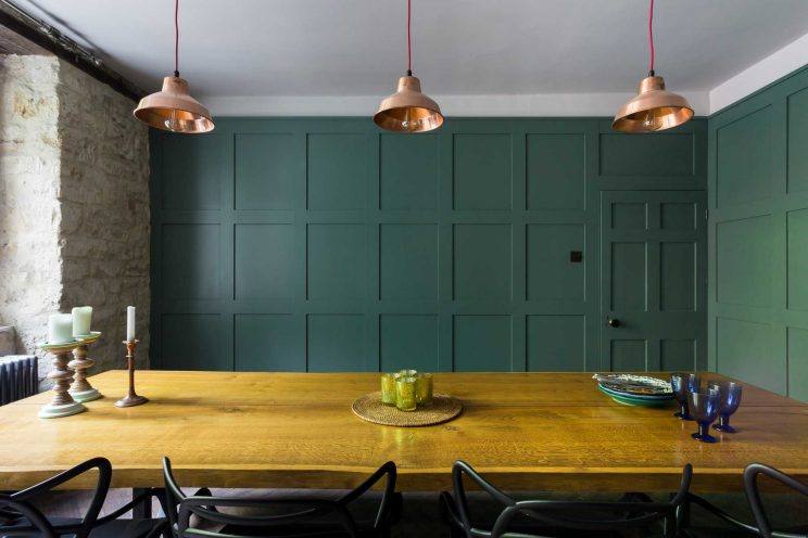 Dining room wooden wall panelling