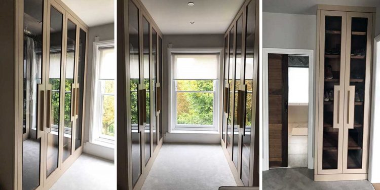 Luxurious Dressing Room With Glazed Fitted Wardrobes Bath Bespoke