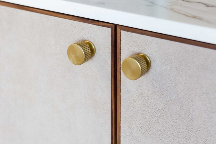 Alcove cabinets with brass Armac Martin handles