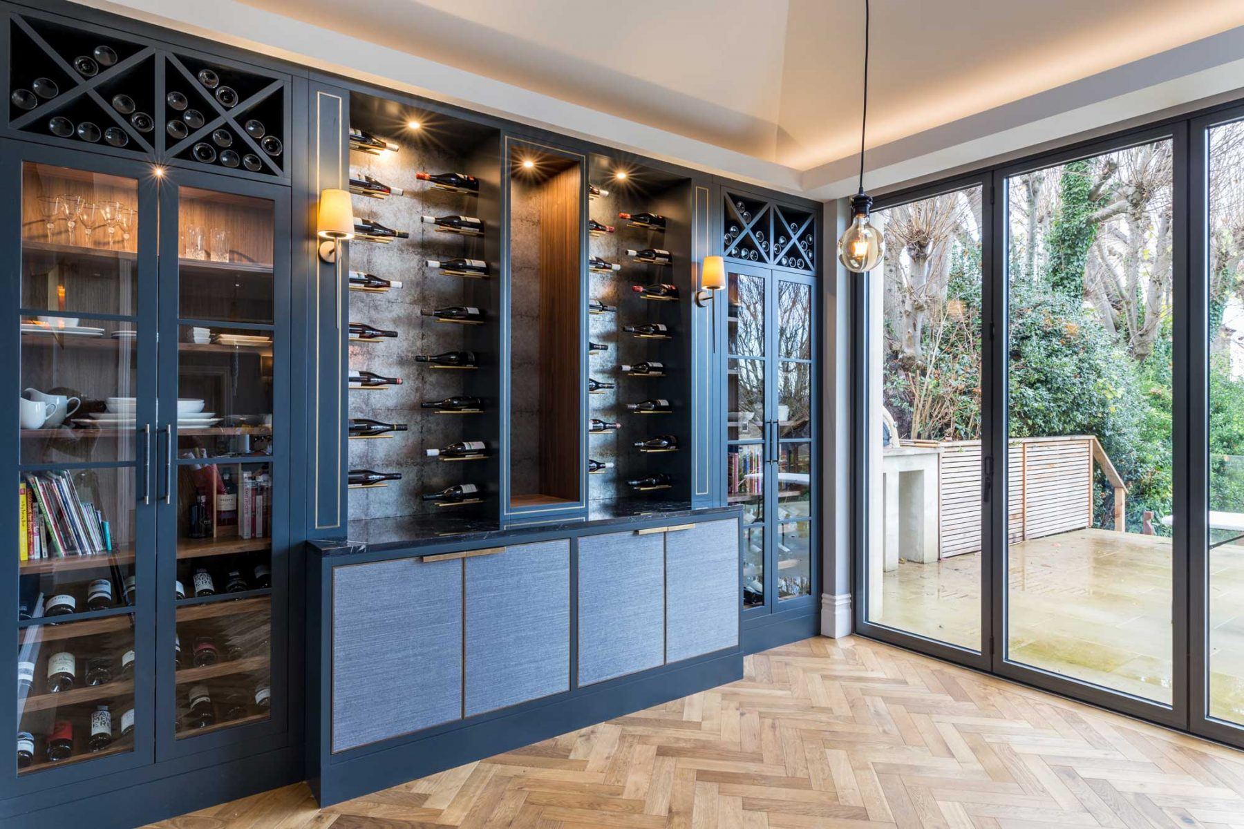 Bespoke wine wall designed by Mia Marquez