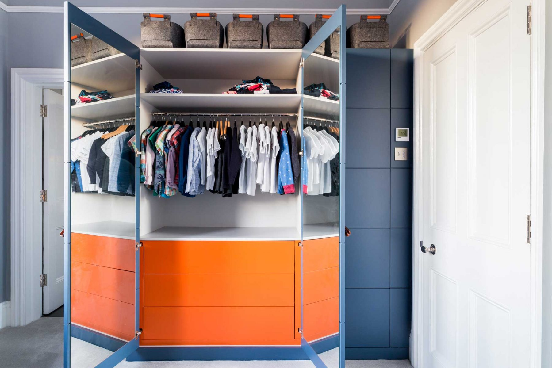 Custom-made wardrobe in boy's bedroom
