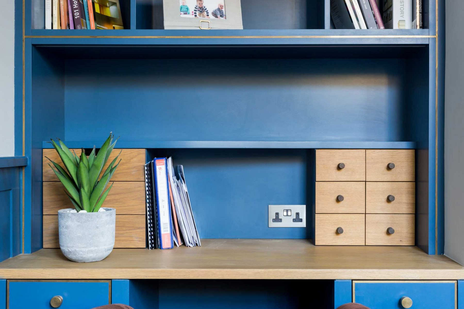 Bespoke oak office desk and shelving