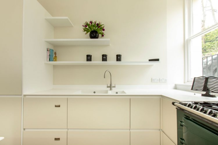 Modern kitchen with Corian sink and worktops