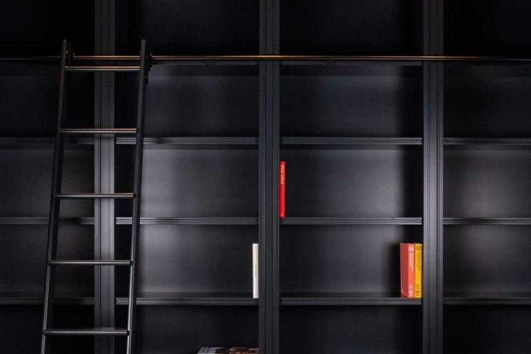 Bespoke library with sliding ladder