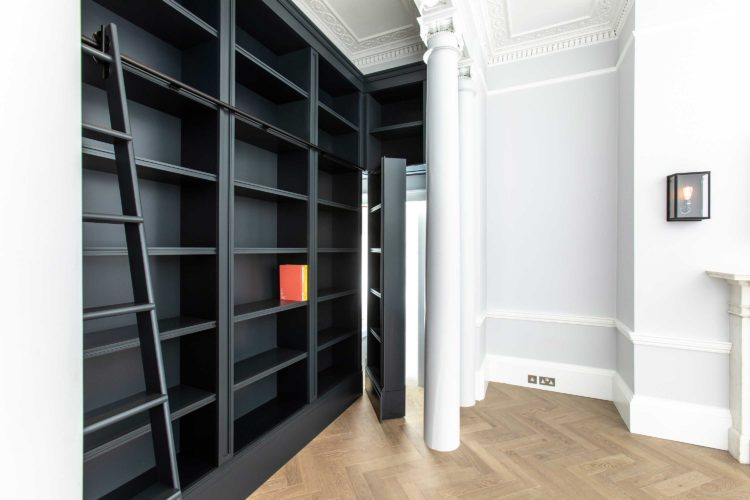 Bespoke library with secret doorway