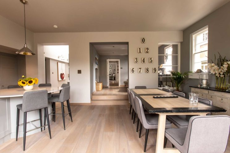 Open plan living area with Shaker kitchen and dining