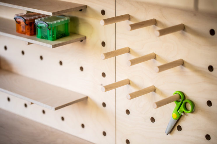Pegboard shelves in birch ply
