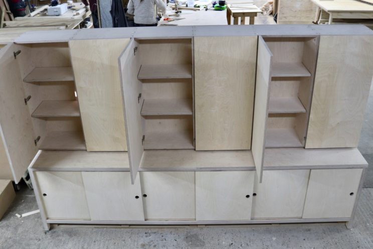 Work in progress - built-in cupboards in birch ply
